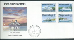 Pitcairn Islands 1991 Cruise Ship Set Of 4 On FDC Official Unaddressed - Stamps