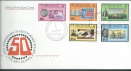 Pitcairn Islands 1990 Stamp Anniversary Set Of 5 On FDC Official Unaddressed - Stamps