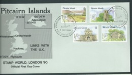 Pitcairn Islands 1990 UK Links Set Of 4 On FDC Official Unaddressed - Stamps
