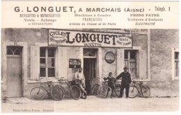 CPA AISNE.MARCHAIS.G.LONGUET BUVETTE CYCLES.MACHINES A COUDRE.PHONO CINE - Otros Municipios