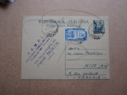 "VEND TIMBRE ENTIER POSTAL D ' ITALIE DE 1952 + CACHET "" C.A.M.P.I. "" !!! - Interi Postali"