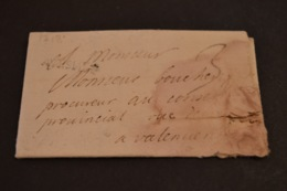 Lettre 1718 Cursive A Identifier Pour Valenciennes - Marcophilie (Lettres)