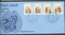 Pitcairn Islands 1991 Christmas Set Of 4 On FDC Official Unaddressed - Stamps