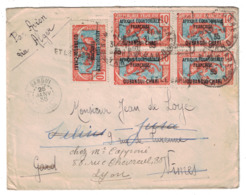 BLOC De 4 TIMBRES PANTHERE N° 63 +1 Sur LETTRE 1935 BANGUI OUBANGUI-CHARI Pr NIMES FRANCE De ROUSSEL CABINET GOUVERNEUR - Ubangi (1915-1936)