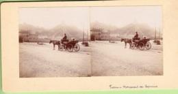 TURIN En 1900 : Monument Des Capucins Avec Calèche - Photo Stéréoscopique  - Lire Descriptif - Photos Stéréoscopiques