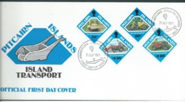 Pitcairn Islands 1991 Local Transport Set Of 4 On FDC Official Unaddressed - Stamps