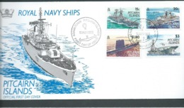 Pitcairn Islands 1993 Navy Ships Set Of 4 On FDC Official Unaddressed - Stamps