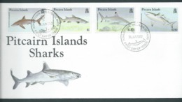 Pitcairn Islands 1992 Sharks Set Of 4 On FDC Official Unaddressed - Stamps