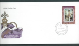 Pitcairn Islands 1993 QEII Coronation Anniversary $5 Single On FDC Official Unaddressed - Stamps