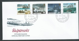 Pitcairn Islands 1994 Shipwrecks Set Of 4 On FDC Official Unaddressed - Stamps