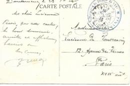 29-cachet Infirmerie Du Détachement Du 151e à Douarnenez Sur CP En 1915 - WW I