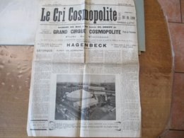 GRAND CIRQUE COSMOPOLITE PORTE DE VINCENNES 23 MAI 1925 FAUVES DE LA MAISON HAGENBECK,TRAPEZISTES,JONGLEURS,SAUTEURS,FIL - Programmes