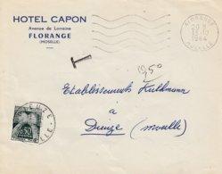 Env Non Affr Obl OMEC FLORANGE Du 13.10.1964 Adressée à Dieuze Taxée 0.50 Cts - Alsace Lorraine