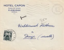 Env Non Affr Obl OMEC FLORANGE Du 13.10.1964 Adressée à Dieuze Taxée 0.50 Cts - Poststempel (Briefe)