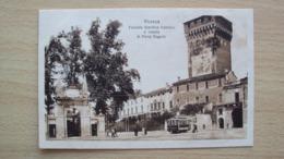 VENETO VICENZA CARTOLINA ANNI 20 FACCIATA GIARDINO ANIMATA CON TRAM NON VIAGGIATA FORMATO PICCOLO - Vicenza
