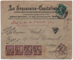 Semeuse TAXE AMENDE  Loi De 1910 Bande De Quatre 50c Banderole Duval (au Lieu Du 2F Orange Soécifique Pour Cet Usage) - Impuestos