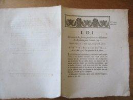 LOI DONNEE A PARIS LE 12 AOÛT 1792 QUI ACCORDE DES SECOURS PROVISOIRES AUX HÔPITAUX DU ROYAUME POR L'ANNEE 1792 - Décrets & Lois