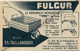 Ancienne Publicité (1954) : FULGUR, La Remorque Monoroue, Ets Taillandier, Vincennes - Publicités