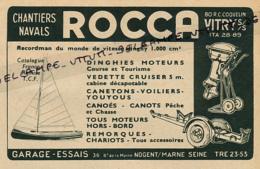 Ancienne Publicité (1954) : ROCCA, Dinghies, Canetons, Voiliers, Canoé, Youyous, Vedettes Cruisers, Nogent-sur-Marne - Publicités