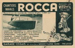 Ancienne Publicité (1954) : ROCCA, Dinghies, Canetons, Voiliers, Youyous, Canoé , Vedette Cruiser, Nogent-sur-Marne - Publicités