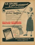 Ancienne Publicité (1954) : WALTHER MANURHIN, Le Pistolet 22.L Le Plus Précis Au Monde, Mulhuuse, Bourtzwiller - Publicités