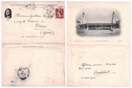 PAU (PYRÉNÉES ATLANTIQUES) : ENVELOPPE CARTE PROTECTRICE ILLUSTRÉE SEMEUSE 10c CAD 1910 - VUE FACADE PALAIS D'HIVER - Marcofilie (Brieven)