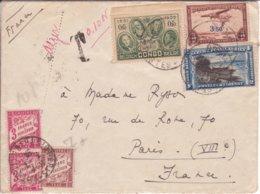 Lettre BOMA Congo Belge 1938 Griffe PAR AVION DE ... à ... Alger  (mention 10 Gr Et 0,10 OR ) TAXE PARIS Banderole 7f - 1859-1955 Covers & Documents