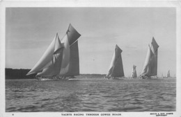 YACHTS RACING THROUGH COWES ROADS ~ AN OLD REAL PHOTO POSTCARD #83714 - Sailing Vessels