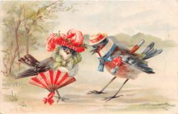 """¤¤  -  Illustrateur """" BRUSCH ? , BRACCH ? """"  -  Oiseaux Humanisés , Moineaux , Eventail   ¤¤ - Birds"""