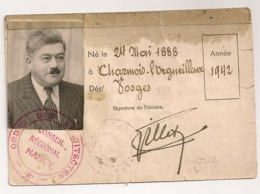 1942 CARTE DE MEMBRE  / ORDRE DES ARCHITECTES / CONSEIL REGIONAL NANCY  B812 - Documents Historiques