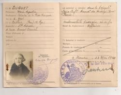 1940 CARTE DE CIRCULATION TEMPORAIRE MINISTERE DEFENSE / ROUEN / LES ANDELYS / 3EME REGION MILITARIA B812 - Documents Historiques