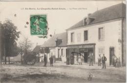 LA CHAPELLE SAINT URSIN 18 Cher 1913 Epicerie Charcuterie Café MOREAU Place Animée Gros Plan ? - Andere Gemeenten