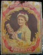 Plaque Carton, Publicité Chicorée Collée RAVERDY Saint-Saulve Redécoupée En Haut - Plaques En Carton