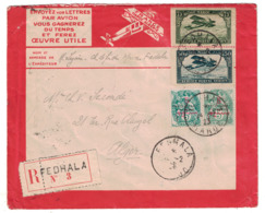 1923 - ENVELOPPE LATECOERE RECOMMANDÉE De FEDHALA MAROC Pour ALGER ALGERIE Avec AFFRANCHISSEMENT COMPOSÉ BLANC AERIEN - Cartas