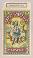 PUB SUR SACHET POUR EPICES / EPICES RABELAIS MARSEILLE / CUISNIER  B811 - Publicités