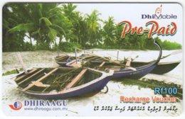 MALDIVES A-144 Prepaid Dhiraagu - Traffic, Boat - Used - Maldiven