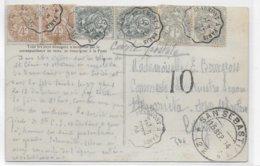 TYPE BLANC - 1904 - CARTE De LUZARCHES (VAL D'OISE) Avec AMBULANT BEAUMONT à PARIS => SAN SEBASTIAN (ESPAGNE) TAXE 10 ! - Marcofilie (Brieven)