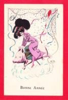 """Illust-1930Ph67 Une Femme Chevauchant Un Cochon, """"bonne Année"""", Cpa BE - Illustrators & Photographers"""