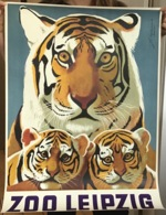 LEIPZIG ZOO By Joachim Naumann 1974 Vintage Poster (affiche Tourisme Tourism Tourismus Plakat DDR Tiger Tigre Felin - Afiches