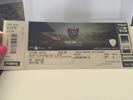 Ticket Toulon Rugby Stade Mayol Toulon Racing Top 14 2017 - Publicité
