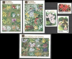 X804 GUYANA FLORA FLOWERS ORCHIDS OF GUYANA GOLD EXPO 90 !!! 3SH+3BL MNH - Orchids