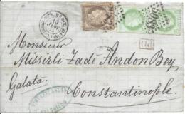 MER MEDIT CONSTANTINOPLE 10 Jan 1874 GC 5083 CONSTANTINOPLE Sur 30c (défaut) Et 2x 5c Cérès 3ème Rép DEVANT SEUL - Marcophilie (Lettres)