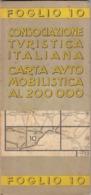 9529-CARTA AUTOMOBILISTICA D'ITALIA AL 200.000-FOGLIO 10-GENOVA - Carte Stradali