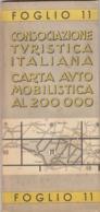 9530-CARTA AUTOMOBILISTICA D'ITALIA AL 200.000-FOGLIO 11-BOLOGNA-FIRENZE - Carte Stradali