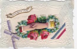 Superbe Carte Gaufrée Avec Ajouts ; De Loin,de Prés Toujours -2 Mains Qui Se Joignent - Embroidered
