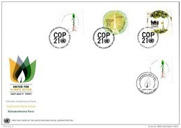 ONU New-York Genève Vienne France 2015 - COP21 - FDC Quatro 3 Offices + France - Emissioni Congiunte New York/Ginevra/Vienna