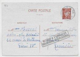 """TYPE PETAIN - 1943 - CARTE ENTIER De PARIS => TUNISIE Avec RETOUR """"RELATIONS SUSPENDUES"""" - Standard- Und TSC-AK (vor 1995)"""