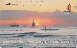 Télécarte Japon / 110-28501 - Site HAWAII - Série KING LOGO ROI 1  Coucher De Soleil - SUNSET Japan Phonecard - 492 - Paisajes