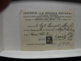 MONTECATINI -- PISTOIA   ---  POLIZIA  PRIVATA -- VIGILANZA  - GUARDIE GIURATE - Italia