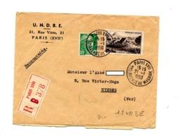 Lettre Recommandée Paris XVII Sur Gandon Jonc - Postmark Collection (Covers)